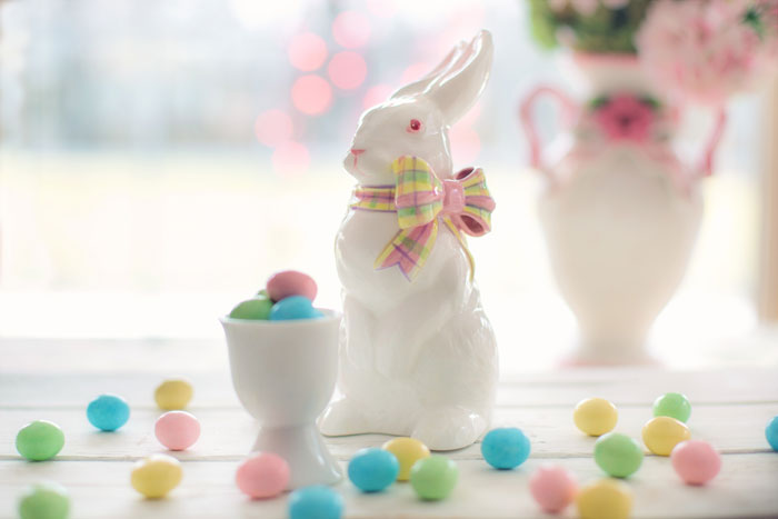 Ceramic Easter bunny with mini eggs and candy eggs. The Kasbah. Easter special menu. niagara